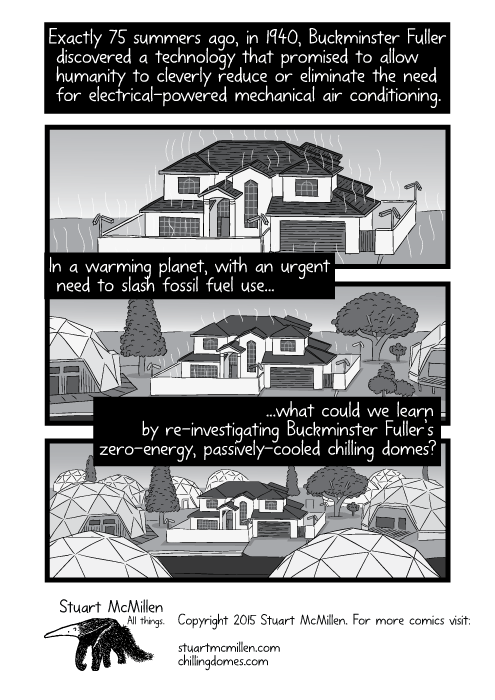 Drawing of conventional house surrounded by a suburb of geodesic domes. Exactly 75 summers ago, in 1940, Buckminster Fuller discovered a technology that promised to allow humanity to cleverly reduce or eliminate the need for electrical-powered mechanical air conditioning. In a warming planet, with an urgent need to slash fossil fuel use...what could we learn by re-investigating Buckminster Fuller's zero-energy, passively-cooled chilling domes?