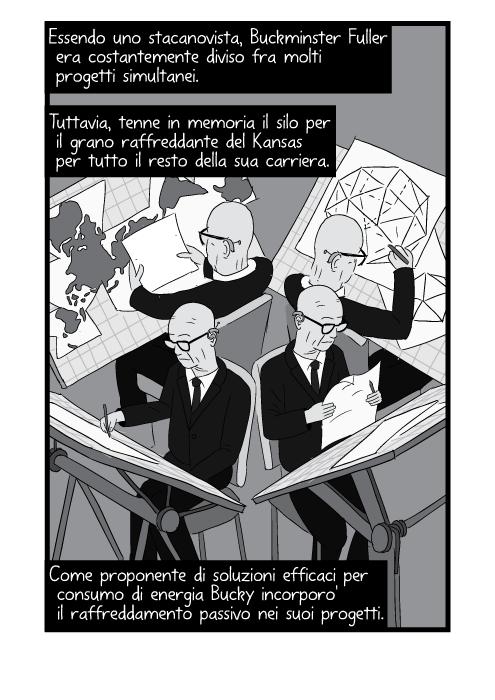 Essendo uno stacanovista, Buckminster Fuller era costantemente diviso fra molti progetti simultanei. Tuttavia, tenne in memoria il silo per il grano raffreddante del Kansas per tutto il resto della sua carriera. Come proponente di soluzioni efficaci per consumo di energia Bucky incorporo' il raffreddamento passivo nei suoi progetti.