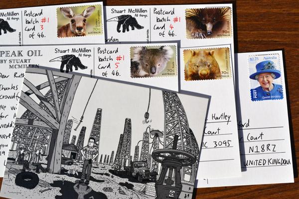 Stuart McMillen Patreon postcard #1: Peak Oil design.