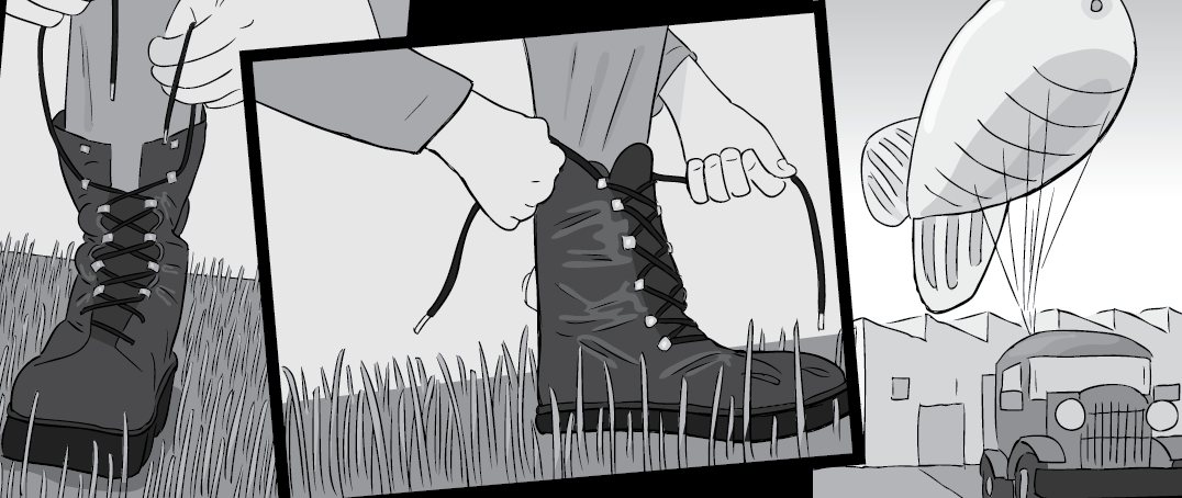 Cartoon illustration of tying up shoelaces