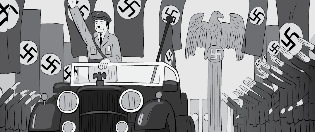 Cartoon artwork of Adolf Hitler motorcade with swastika flags