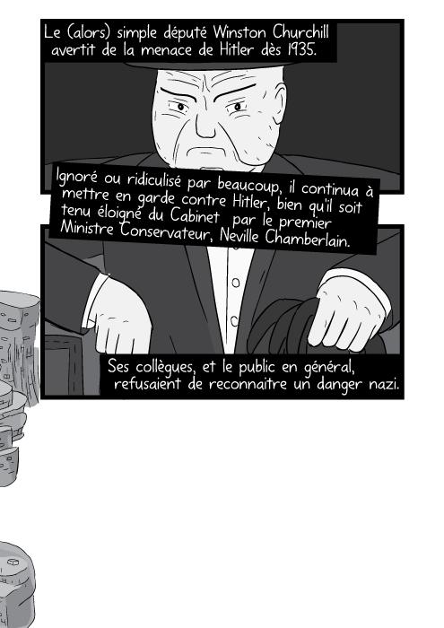 Le (alors) simple député Winston Churchill avertit de la menace de Hitler dès 1935. Ignoré ou ridiculisé par beaucoup, il continua à mettre en garde contre Hitler, bien qu'il soit tenu éloigné du Cabinet par le premier Ministre Conservateur, Neville Chamberlain.