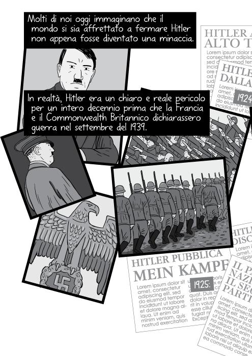 Molti di noi oggi immaginano che il mondo si sia affrettato a fermare Hitler non appena fosse diventato una minaccia. In realtà, Hitler era un chiaro e reale pericolo per un intero decennio prima che la Francia e il Commonwealth Britannico dichiarassero guerra nel settembre del 1939.