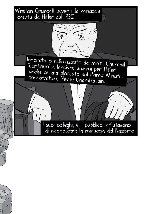 Winston Churchill avverti' la minaccia creata da Hitler dal 1935. Ignorato o ridicolizzato da molti, Churchill continuo' a lanciare allarmi per Hitler, anche se era bloccato dal Primo Ministro conservatore Neville Chamberlain. I suoi colleghi, e il pubblico, rifiutavano di riconoscere la minaccia del Nazismo.