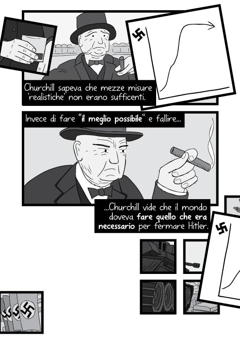 """Churchill sapeva che mezze misure 'realistiche' non erano sufficenti. Invece di fare """"il meglio possibile"""" e fallire Churchill vide che il mondo doveva fare quello che era necessario per fermare Hitler."""