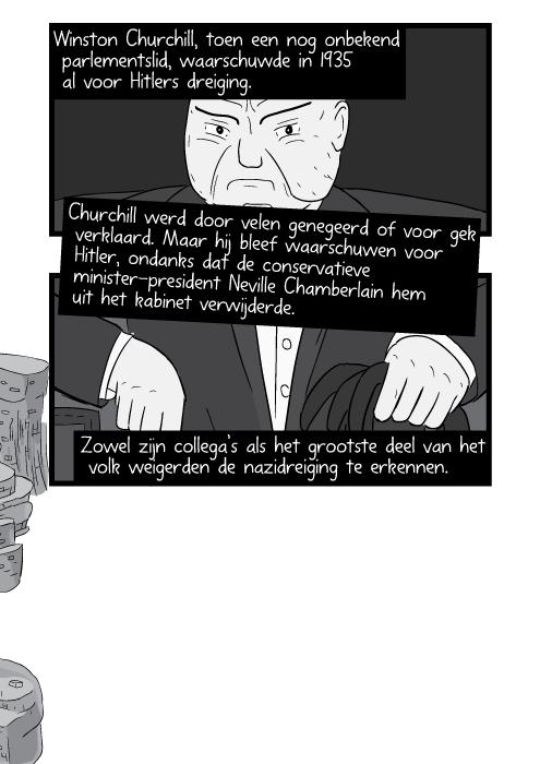 Winston Churchill, toen een nog onbekend parlementslid, waarschuwde in 1935 al voor Hitlers dreiging. Churchill werd door velen genegeerd of voor gek verklaard. Maar hij bleef waarschuwen voor Hitler, ondanks dat de conservatieve minister-president Neville Chamberlain hem uit het kabinet verwijderde. Zowel zijn collega's als het grootste deel van het volk weigerden de nazidreiging te erkennen.