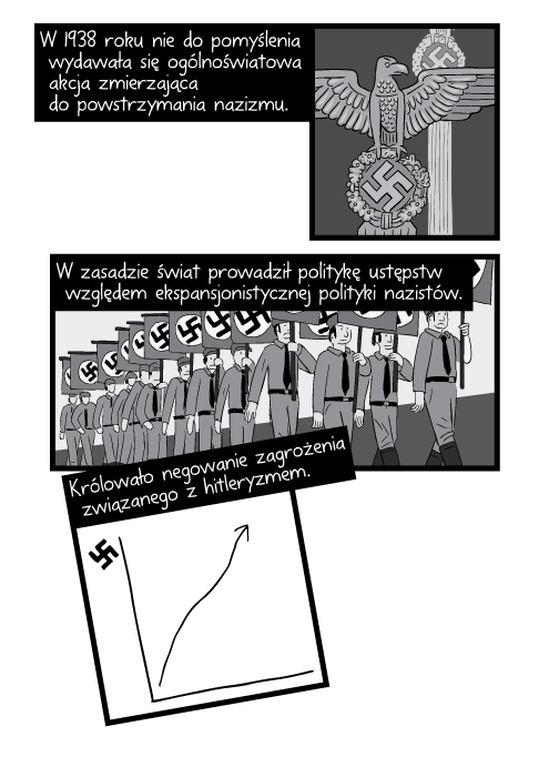 W 1938 roku nie do pomyślenia wydawała się ogólnoświatowa akcja zmierzająca do powstrzymania nazizmu. W zasadzie świat prowadził politykę ustępstw względem ekspansjonistycznej polityki nazistów. Królowało negowanie zagrożenia związanego z hitleryzmem.