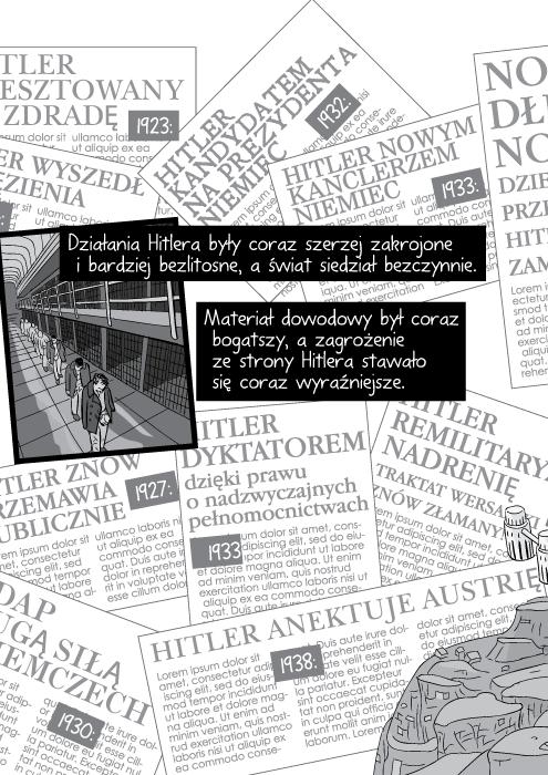 Działania Hitlera były coraz szerzej zakrojone i bardziej bezlitosne, a świat siedział bezczynnie. Materiał dowodowy był coraz bogatszy, a zagrożenie ze strony Hitlera stawało się coraz wyraźniejsze.