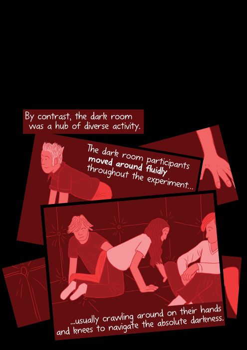 Infrared cartoon red imagery of students crawling on hands and knees. By contrast, the dark room was a hub of diverse activity. The dark room participants moved around fluidly throughout the experiment, usually crawling around on their hands and knees to navigate the absolute darkness.