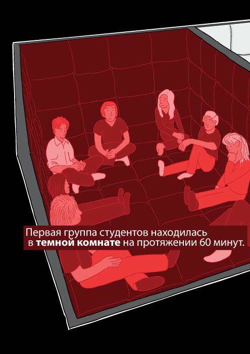 Первая группа студентов находилась в темной комнате на протяжении 60 минут.