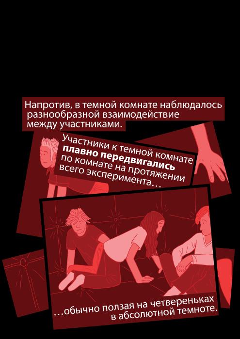 Напротив, в темной комнате наблюдалось разнообразной взаимодействие между участниками. Участники к темной комнате плавно передвигались по комнате на протяжении всего эксперимента обычно ползая на четвереньках в абсолютной темноте.