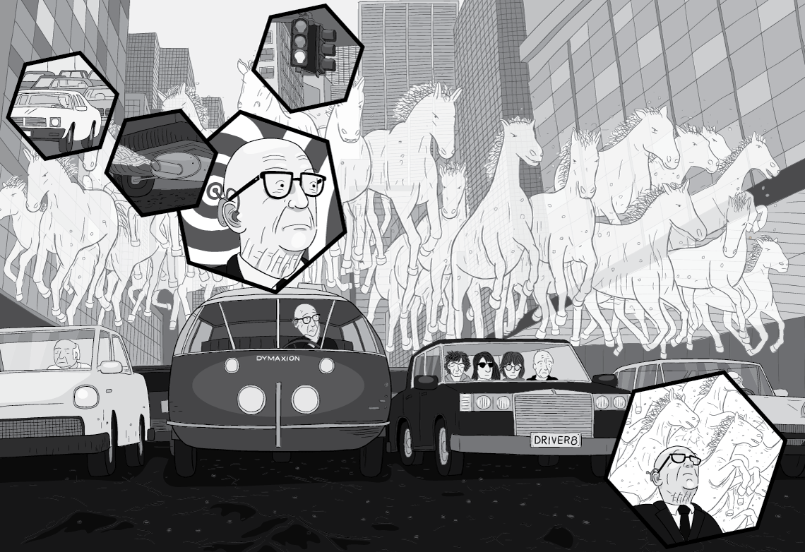 Cartoon scene of traffic jam with 'horsepower' horses above the cars. Buckminster Fuller driving Dymaxion Car imagining horsepower.