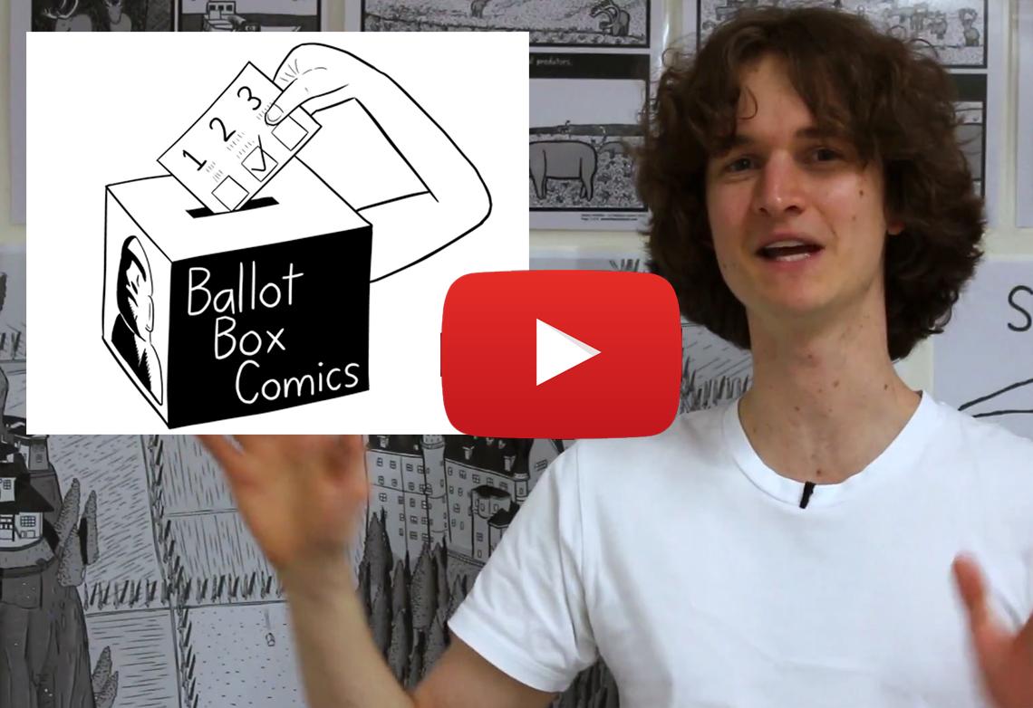 Stuart McMillen speaking about Ballot Box Comics in YouTube video