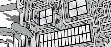 Black and white cartoon of an industrial factory, with a face on the front.