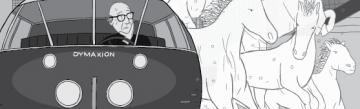 Cartoon of Buckminster Fuller in Dymaxion Car with invisible horses next to vehicle.