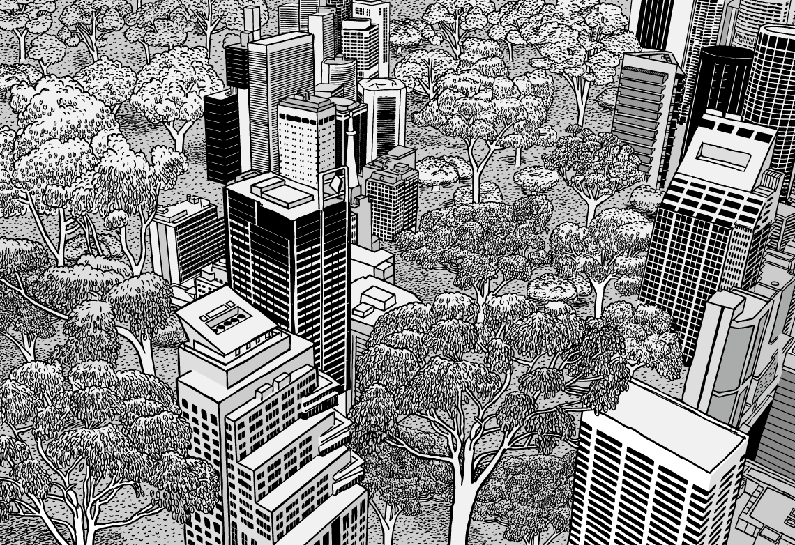 High angle view of city skyscrapers aerial view, with eucalyptus trees growing in between. Black and white cartoon of urban nature. Highly detailed technical illustrations