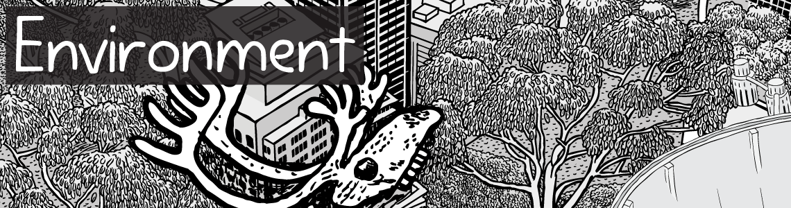 Environment cartoon artwork. Black and white illustrations of artwork on theme of environment - trees and caribou skull.