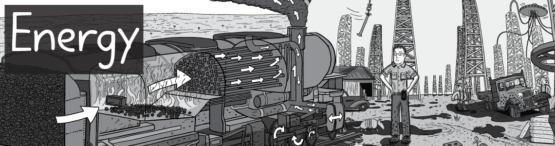 Black and white cartoon artwork on the theme of Energy. Featuring a coal-fired steam train, and desert oil fields.