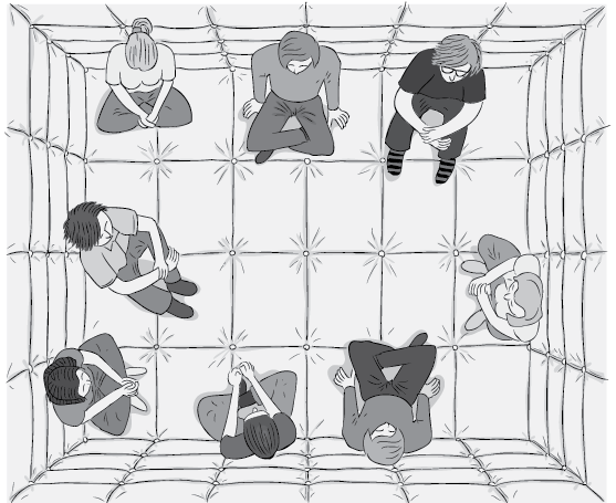 Top-down view of people sitting in a padded room, during a psychological experiment.