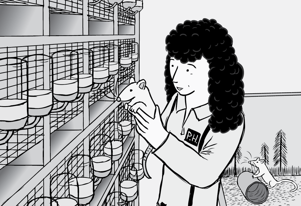 Female scientist holding a lab rat cartoon. Near mouse cages in a science laboratory illustration.
