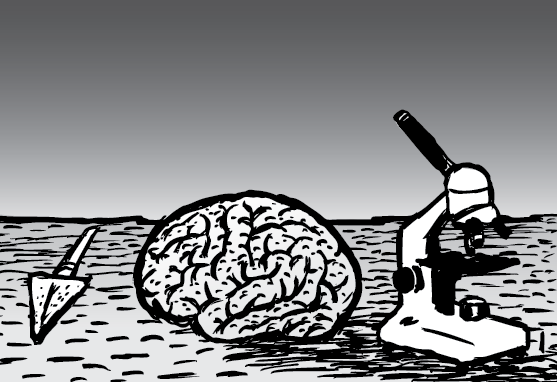 Cartoon brain on table near microscope - black and white illustration.