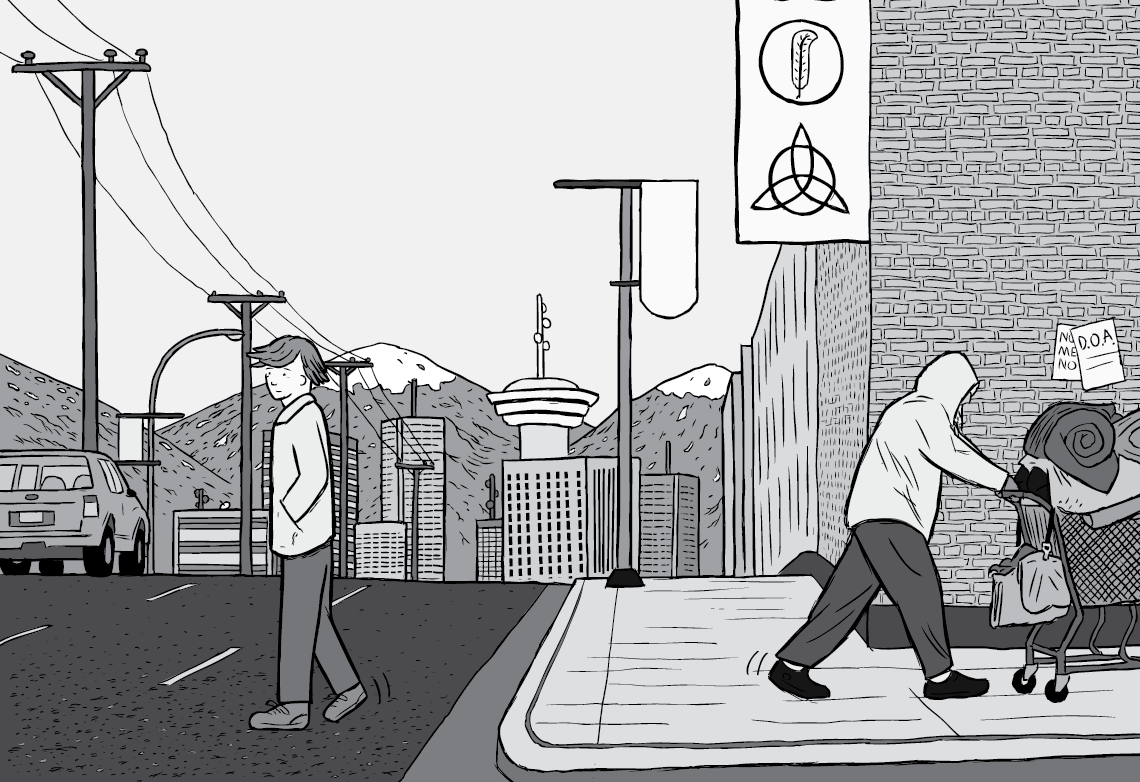 Final page of Rat Park comic. Black and white illustration of man crossing the road in city, with homeless person in hoodie pushing a shopping cart.