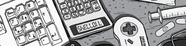 Cartoon drawing of calculator with SHELLOIL written in numbers upside-down. Upside-down numbers 71077345.