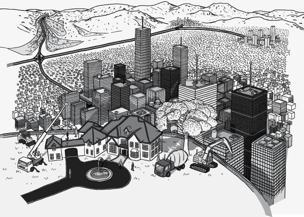 High angle view of a hilltop house being constructed. Aerial view of a house being built above a sprawling city. Black and white drawing of city skyscrapers.