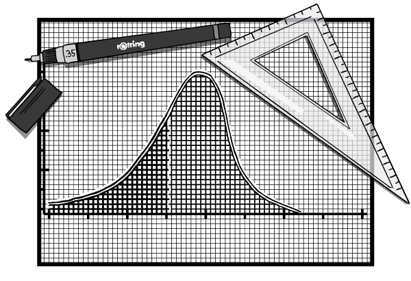 Cartoon image of hand-drawn graph with Rotring pen and plastic triangle ruler.