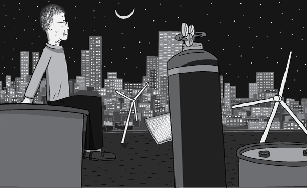 Side view of cartoon man sitting on a ledge overlooking a bayside city view. Looking out to the stars and moon above the city skyscrapers.