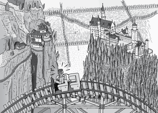 High angle side view of man in roller coaster car looking to the ground far below. Panoramic view of Neuschwanstein Castle and Neuschwanstein Castle (a.ka. Taktsang Palphug Monastery). Black and white cartoon drawing of surprised man in rollercoaster.