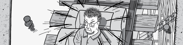 Alarmned and angry cartoon man in a rollercoaster.