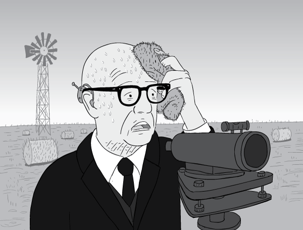 Cartoon Buckminster Fuller mopping brow with sweat on hot summer's day.