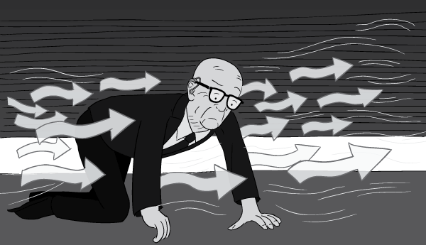 Cartoon man Buckminster Fuller on hands and knees crawling on ground, following air currents.