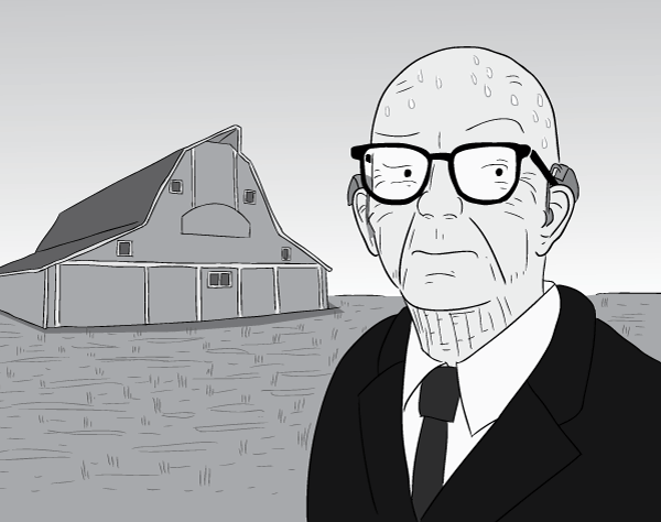 Pensive cartoon Buckminster Fuller sweating on sunny day, in Kansas field near barn.