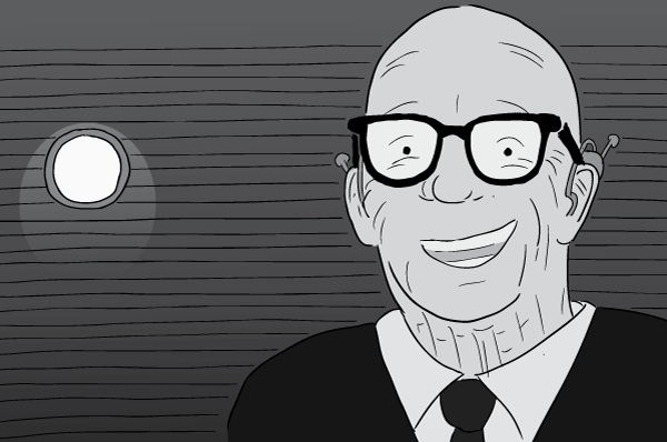 Cartoon black and white Buckminster Fuller drawing. Bucky Fuller smiling inside darkened room.