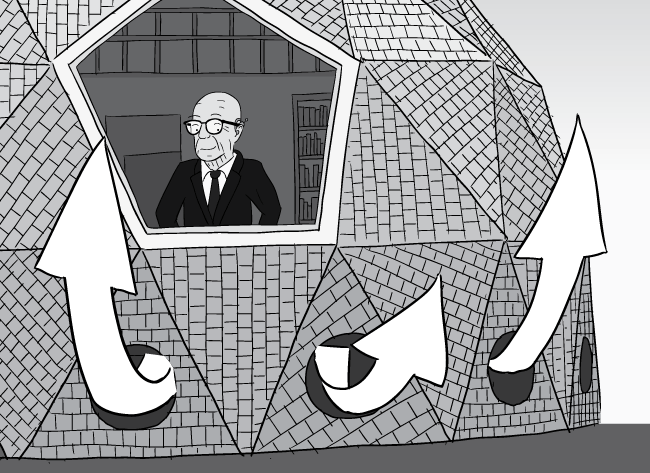 Cartoon Buckminster Fuller looking out of geodesic dome window. Watching air currents leaving vents at base of dome home - crop.