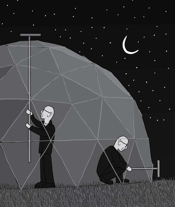 Cross section cartoon of Buckminster Fuller inside dome home at night. Closing the vents of the geodesic dome to retain heat overnight.