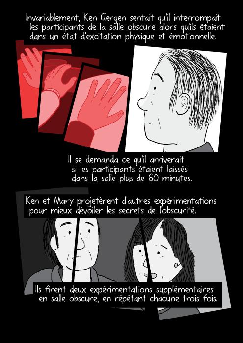 Invariablement, Ken Gergen sentait qu'il interrompait les participants de la salle obscure alors qu'ils étaient dans un état d'excitation physique et émotionnelle. Il se demanda ce qu'il arriverait si les participants étaient laissés dans la salle plus de 60 minutes. Ken et Mary projetèrent d'autres expérimentations pour mieux dévoiler les secrets de l'obscurité. Ils firent deux expérimentations supplémentaires en salle obscure, en répétant chacune trois fois.