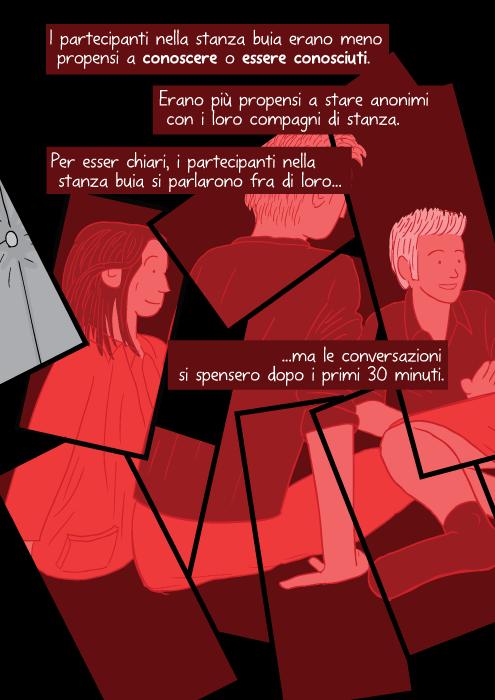 I partecipanti nella stanza buia erano meno propensi a conoscere o essere conosciuti. Erano più propensi a stare anonimi con i loro compagni di stanza. Per esser chiari, i partecipanti nella stanza buia si parlarono fra di loro... ma le conversazioni si spensero dopo i primi 30 minuti.