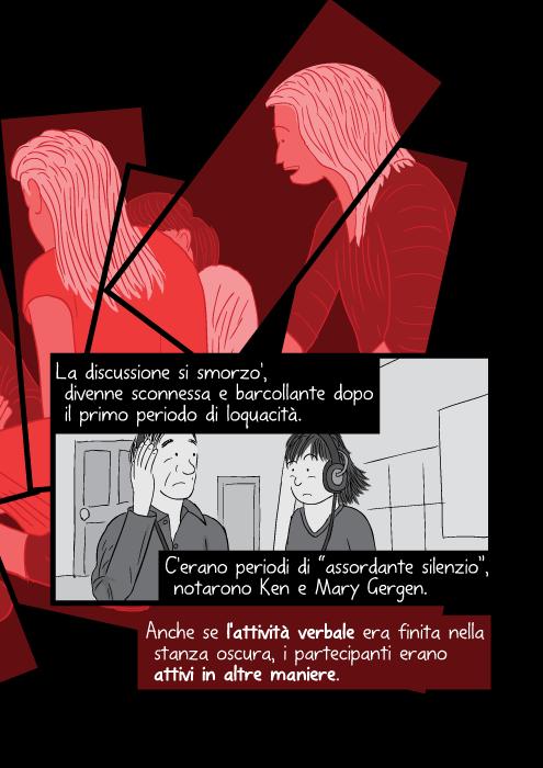 """La discussione si smorzo', divenne sconnessa e barcollante dopo il primo periodo di loquacità. C'erano periodi di """"assordante silenzio"""", notarono Ken e Mary Gergen. Anche se l'attività verbale era finita nella stanza oscura, i partecipanti erano attivi in altre maniere."""