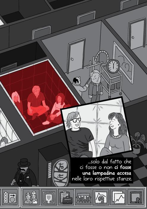 solo dal fatto che ci fosse o non ci fosse una lampadina accesa nelle loro rispettive stanze.