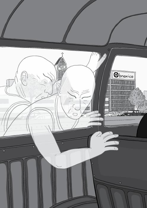 Energy Slaves - image of a sweaty energy slave pushing a car interior