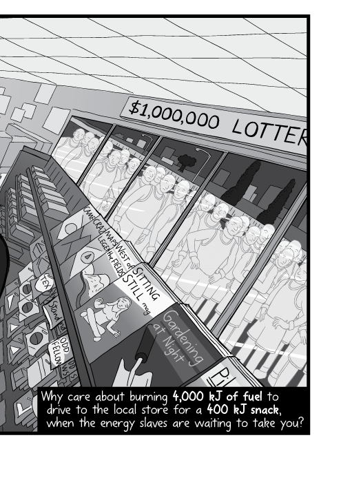 Dutch angle drawing of inside a 7-Eleven convenience store. Why care about burning 4,000 kJ of fuel to drive to the local store for a 400 kJ snack, when the energy slaves are waiting to take you?