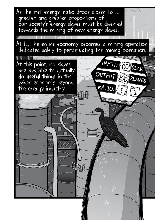 Cartoon bird sitting on pipe near industrial smokestacks high angle. As the 'net energy' ratio drops closer to 1:1, greater and greater proportions of our society's energy slaves must be diverted towards the mining of new energy slaves. At 1:1, the entire economy becomes a mining operation dedicated solely to perpetuating the mining operation. At this point, no slaves are available to actually do useful things in the wider economy beyond the energy industry.