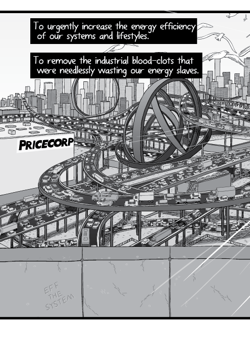Cartoon high angle view of detailed, complicated expressway system. A criss-cross of expressways, motorways and highways overlapping. To urgently increase the energy efficiency of our systems and lifestyles. To remove the industrial blood-clots that were needlessly wasting our energy slaves.