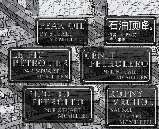 Peak Oil comic titles in multiple languages