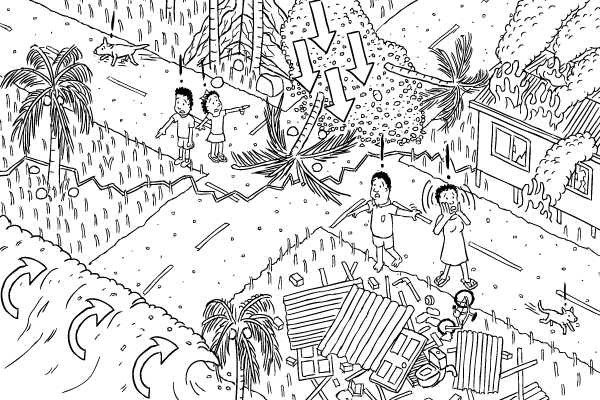 Black and white cartoon isometric earthquake, tsunami, landslide. High angle of village affected by earthquake.