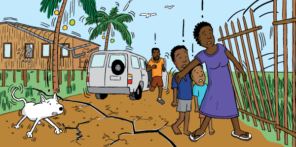 Cartoon woman in earthquake at risk of being crushed by debris. Sheltering children from falling fence.