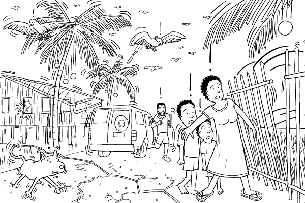 Black and white drawing. Cartoon street affected by earthquake. Worried people, falling fence, fault line.